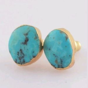 """The Golden Lining"" Turquoise studs"